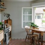Kitchen, White Orange Plaid Floor, White Wall, Wooden Table, Wooden Chairs, Wooden Bottom Cabinet, Wooden Floating Shelves