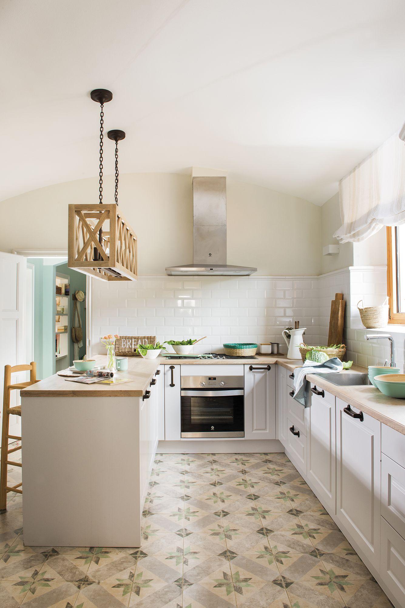 kitchen, white patterned floor, white subway backsplash, white cabinet, wooden counter top