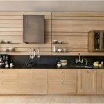 Kitchen, Wooden Cabinet, Wooden Wall, Black Counter Top, Low Black Backsplash, Wooden Floor