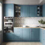 Kitchen, Wooden Floor, Patterned Backsplash, Blue Cabinet, Wooden Counter Top