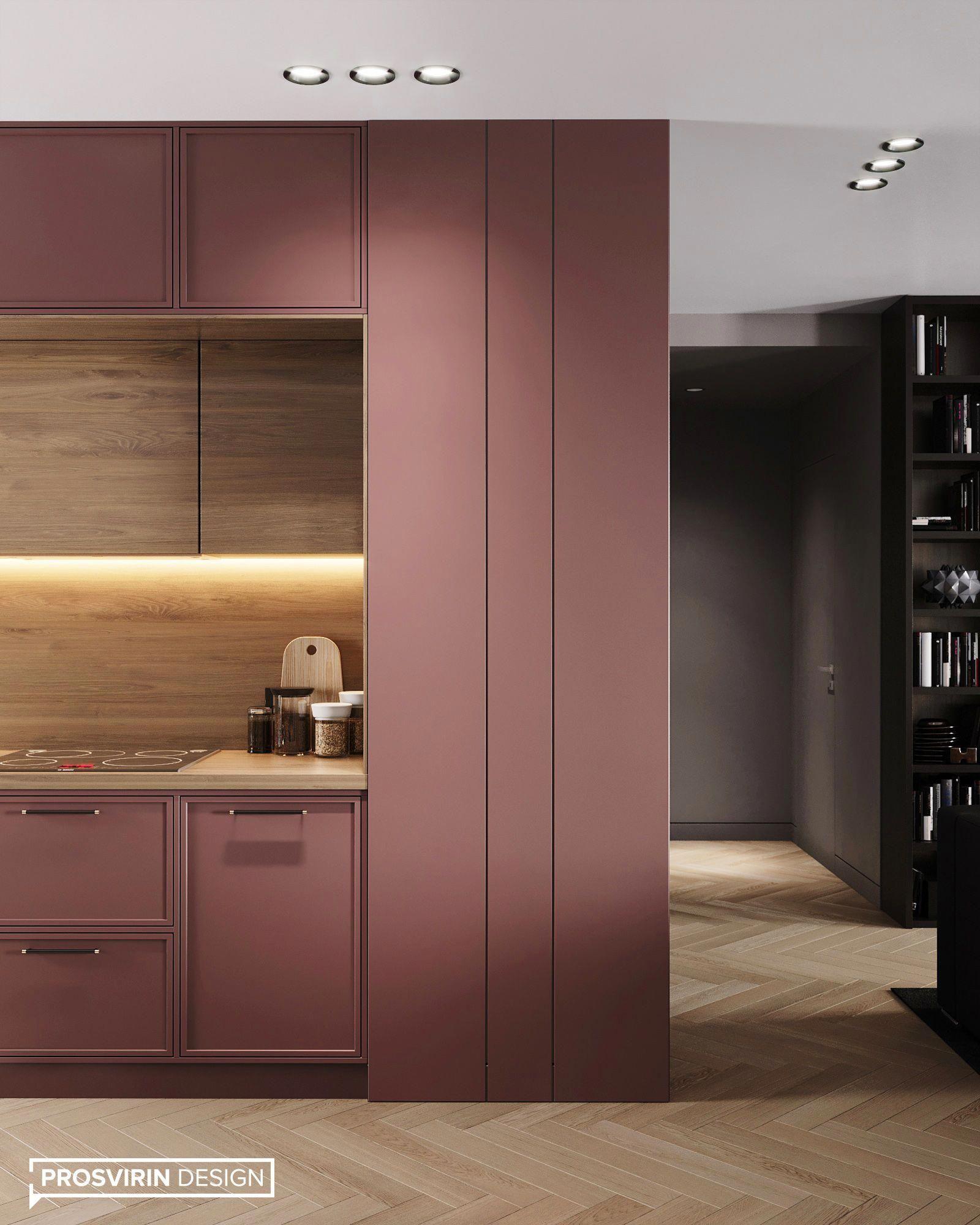 kitchen, wooden floor, pink smooth and modern cabinet, wooden bakcplash
