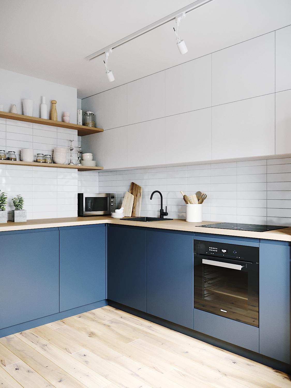 kitchen, wooden floor, white cabinet, white subway backsplash, blue bottom cabinet, white top cabinet