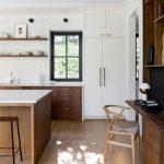Kitchen, Wooden Floor, White Wall, White Cabinet, Wooden Cabinet With White Top, Wooden Island With White Top, Floating Wooden Shelves, White Subway Tiles
