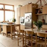 Kitchen, Wooden Floor, White Wall, White Table, Wooden Chairs, Wooden Cabinet, Wooden Counter