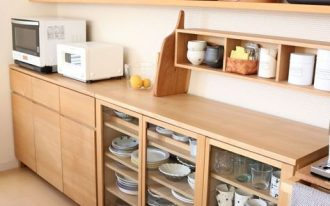 kitchen, wooden floor, white wall, wooden kitchen cabinet, wooden open shelves