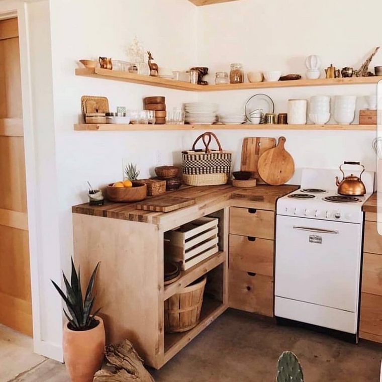 kitchen, wooden floor, wooden kitchen cabinet, wooden open shelves