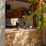 Kitchen, Wooden Shiplank, Wooden Top, Glass Window