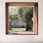 Large Glass Window, Wooden Window Sill, Indented Space, White Wooden Wall