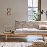 Living Room, Concrete Floor, Wooden Sofa, White Cushion, White Patterned Rug