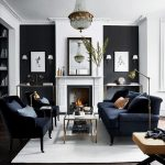 Living Room, Dark Floor, White Rug, Black Wall, White Accent, White Fireplace, Chandelier, Black Sofa, Black Chairs, Coffee Table, Console Table