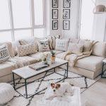 Living Room, Light Wooden Floor, White Wall, White Sofa, White Marble Coffee Table, Silver Floor Lamp