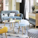 Living Room, Seamless Floor, Blue Sofa, Yellow Stool, Blue Stool, White Yellow Round Coffe Table, Patterned Stool, Colorful Cabinet