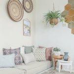 Living Room, White Wall, White Floor, White Floor Seating, White Side Table
