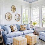 Living Room, White Woode Planks, Blue Wooden Ceiling, White Framed Window, White Side Table, White Table Lamp, Blue Sofa, Yellow Ottoman