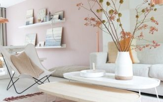 living room, white wooden floor, pink wall, white and wooden coffee table, white butterfly chair, white sofa, pink wall