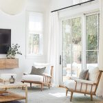 Living Room, Wooden Floor, Grey Rug, Wooden Chairs With White Cushion, White Wall, Wooden Floating Shelves, Woden Coffee Table, White Round Pendant