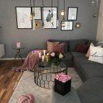 Living Room, Wooden Floor, Grey Wall, Grey Sofa, Round Coffee Table, Pendants