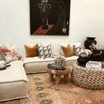 Living Room, Wooden Floor, Patterned Rug, Small Wooden Tray Coffee Table, White Corner Floor Sofa, Rattan Coffee Table