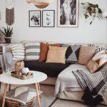 Living Room, Wooden Floor, White Wall, Grey Corner Sofa, White Round Coffee Table, Rattan Pendant