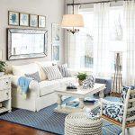Living Room, Wooden Floor, White Wall, White Sofa, White Coffee Table, Pendant, White Woven Ottoman, White Side Cabinet, White Floor Lamp