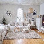 Living Room, Wooden Floor, White Wall, White Wood Ceiling, Rattan Pendant, White Sofa, White Cabinet