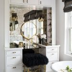 Make Up Station, Patterned Floor, White Cabinet, Dark Glass Top, Golden Mirror, Glass Shelves