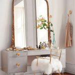 Make Up Station, Wooden Floor, Light Grey Cabinet, Golden French Mirror, Golden Chair,