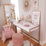 Make Up Station, Wooden Floor, White Table, Golden Legs, Cream Wall, Pink Velvet Stool, Stand Mirror