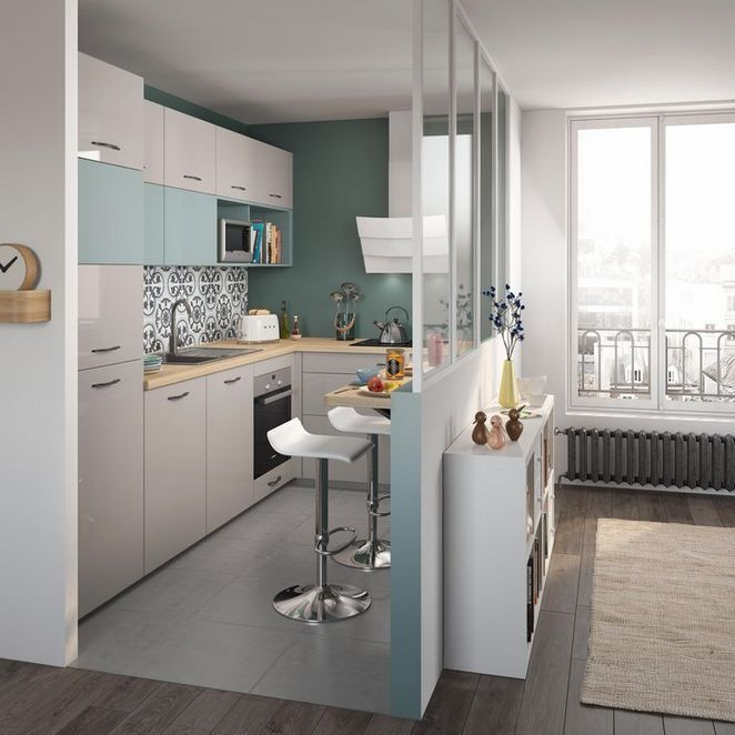 narrow and small kitchen, grey floor, grey cabinet, blue cabinet, wooden counter top, glass partition, floating table, white stools