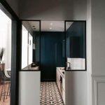 Narrow Kitchen, White Cabinet, Dark Green Wall, Patterned Floor