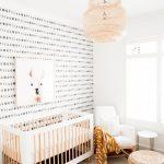 Nursery, White Wall, Accent Wal, White Wooden Crib, Cream Rug, Rattan Pendant, Rattan Ottoman