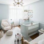 Nursery, White Wall, White Crib, White Cabinet, Wooden Floor, White Rug, White Chair, White Woven Ottoman