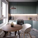 Open Kitchen, Grey Hexagonal Floor Tiles, Green Kitchen Cabinet, Gloss Pink Backsplash And Counter Top, Round Wooden Dining Table, White Chairs, Pendant