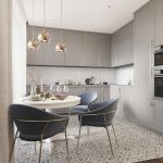 Open Kitchen, Grey Kitchen Cabinet, Patterned Floor, Blue Chairs, Glossy Pendants, White Round Table