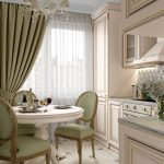Open Kitchen, Marble Floor Tiles, Soft Pink Kitchen Cabinet, Green Chairs, White Round Dining Table, Chandelier