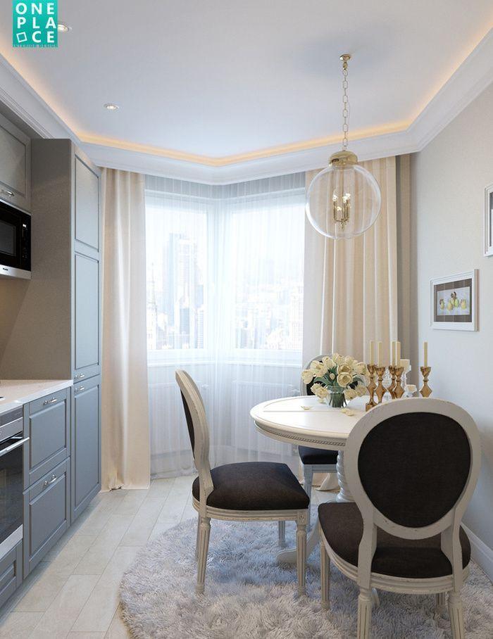 open kitchen, wooden floor, grey kitchen cabinet, glass bulb pendant, black chair, white round marble