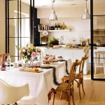Open Room, Wooden Floor, White Wall, White Subway Backsplsh, White Island, Silver Pendants, Wooden Chairs, White Modern Chair