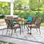 Outdoor Dining Set, Patio Floor, Blue Patterned Rug, Black Chairs With Brown Cushion