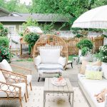 Patio, Grey Concrete, Rattan Chairs, White Sofa, Wooden Coffee Table