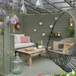 Patio, Grey Wooden Floor, Grey Wooden Wall, Rattan Chair, Wooden Sofa, Wooden Coffee Table, Rattan Swing