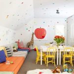 Playroom, Grey Floor, Colorful Floor Sofa, White Study Table, Yellow Study Chairs, Toys, White Fur Rug