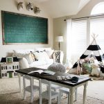 Playroom, Living Room, Wooden Floor, Rug, Children Study Table And Chairs, Tent, Toys, Floor Lamp