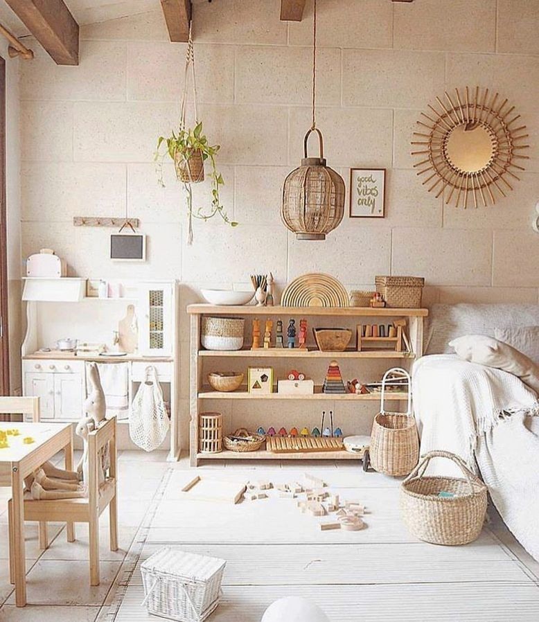 playroom, white floor, white wall, wooden shelves, rattan pendant, white sofa, wooden table and chairs, rattan basket, wooden toys