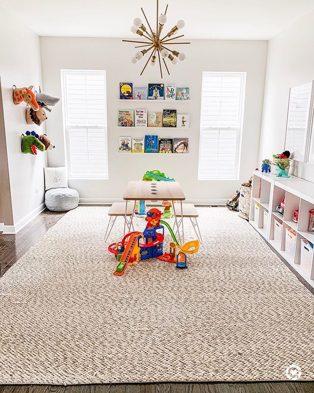 playroom, wooden floor, small patterned rug, white wall, pendants, white shelves, children study table chairs