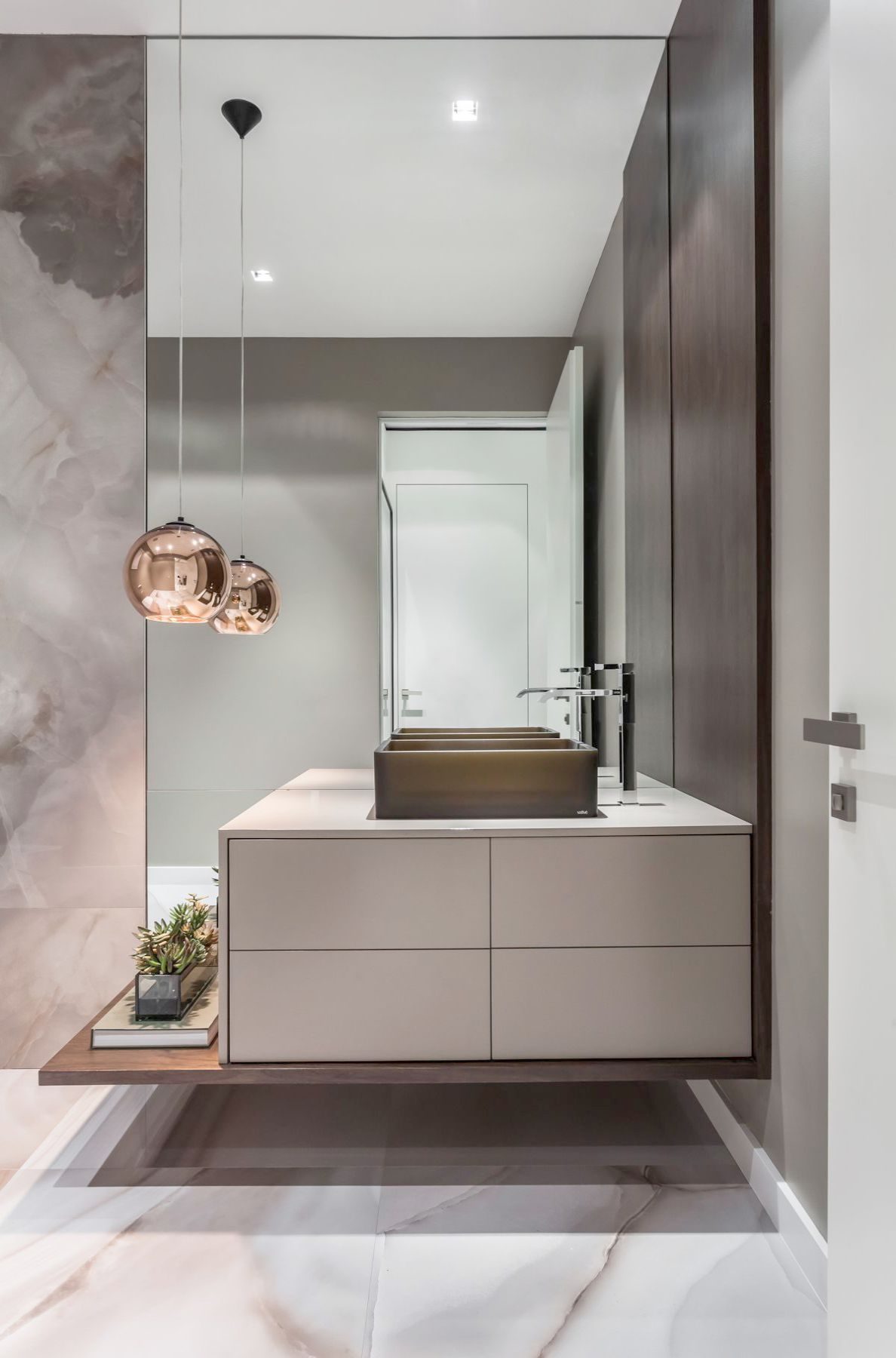 powder room, white marble floor, gery marble wall, grey floating cabinet, square black sink, copper pendant