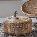 Ratta Butterfly Chair, Rattan Round Coffee Table, White Floor, Patterned Rug