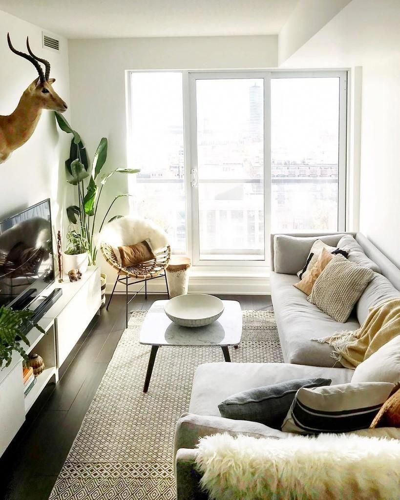 small living room, dark wooden floor, white wall, tall glass window, gey corner sofa, white coffee table, white cabinet, rattan chair