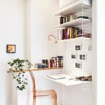 Small Study, White Floating Table, White Metal Fence On The Side, White Floatnigs Shelves, Wooden Floating Shelves, Brown Acrylic Chair