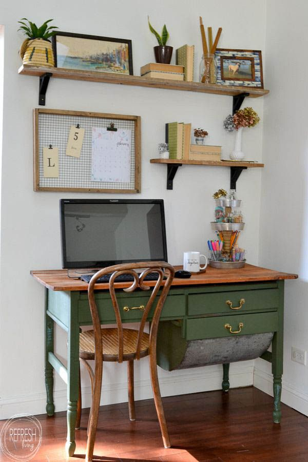 small study, wooden floor, white wall, smal green wooden table, brown wooden table top, floating shelves, wooden rattan chair