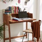 Small Study, Wooden Table, Wooden Chair, White Wall, White Floor, Patterned Rug